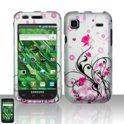 Hard Rubber Feel Design Case for Samsung Vibrant/Galaxy S T959 - Pink Garden
