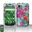 Hard Rubber Feel Design Case for Samsung Vibrant/Galaxy S T959 - Purple Blue Flowers