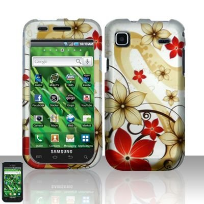 Hard Rubber Feel Design Case for Samsung Vibrant/Galaxy S T959 - Red Flowers