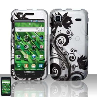 Hard Rubber Feel Design Case for Samsung Vibrant/Galaxy S T959 - Black Vines