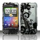 Hard Rubber Feel Design Case for HTC DROID Incredible 2 6350 (Verizon) - Black Vines