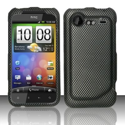 Hard Rubber Feel Design Case for HTC DROID Incredible 2 6350 (Verizon) - Carbon Fiber