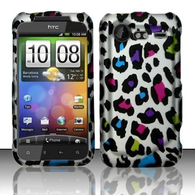 Hard Rubber Feel Design Case for HTC DROID Incredible 2 6350 (Verizon) - Colorful Leopard
