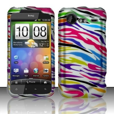 Hard Rubber Feel Design Case for HTC DROID Incredible 2 6350 (Verizon) - Colorful Zebra