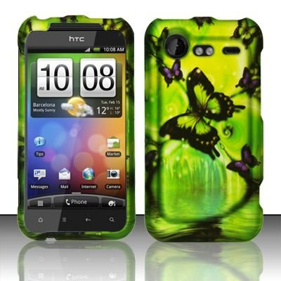 Hard Rubber Feel Design Case for HTC DROID Incredible 2 6350 (Verizon) - Green Butterfly