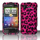 Hard Rubber Feel Design Case for HTC DROID Incredible 2 6350 (Verizon) - Pink Leopard