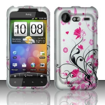Hard Rubber Feel Design Case for HTC DROID Incredible 2 6350 (Verizon) - Pink Garden