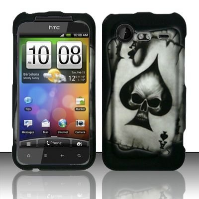 Hard Rubber Feel Design Case for HTC DROID Incredible 2 6350 (Verizon) - Spade Skull