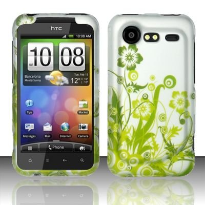 Hard Rubber Feel Design Case for HTC DROID Incredible 2 6350 (Verizon) - Green Vines