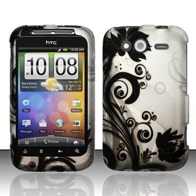 Hard Rubber Feel Design Case for HTC Wildfire S - Black Vines