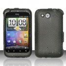 Hard Rubber Feel Design Case for HTC Wildfire S - Carbon Fiber