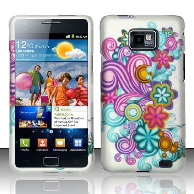 Hard Rubber Feel Design Case for Samsung Galaxy S II i777/i9100 (AT&T) - Purple Blue Flowers