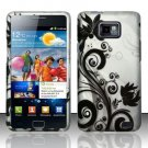 Hard Rubber Feel Design Case for Samsung Galaxy S II i777/i9100 (AT&T) - Black Vines
