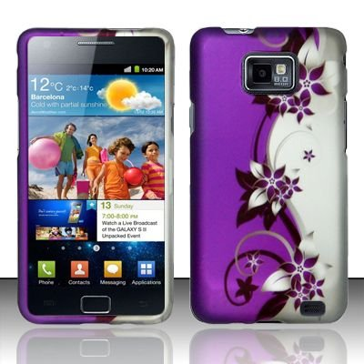Hard Rubber Feel Design Case for Samsung Galaxy S II i777/i9100 (AT&T) - Purple Vines