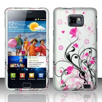 Hard Rubber Feel Design Case for Samsung Galaxy S II i777/i9100 (AT&T) - Pink Garden