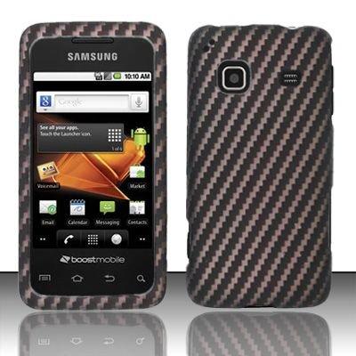 Hard Rubber Feel Design Case for Samsung Galaxy Prevail - Carbon Fiber V2