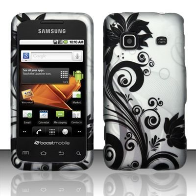 Hard Rubber Feel Design Case for Samsung Galaxy Prevail - Black Vines
