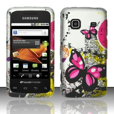 Hard Rubber Feel Design Case for Samsung Galaxy Prevail - Silver Butterfly