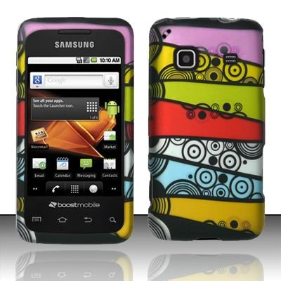 Hard Rubber Feel Design Case for Samsung Galaxy Prevail - Colorful Stripes