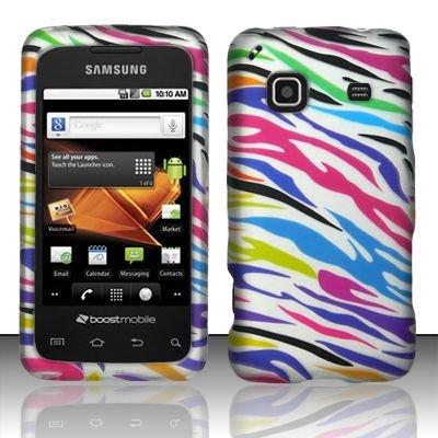 Hard Rubber Feel Design Case for Samsung Galaxy Prevail - Colorful Zebra