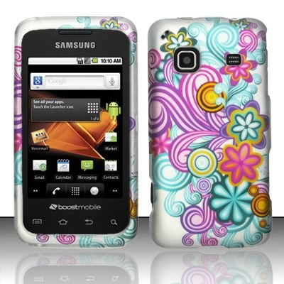 Hard Rubber Feel Design Case for Samsung Galaxy Prevail - Purple Blue Flowers