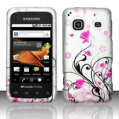 Hard Rubber Feel Design Case for Samsung Galaxy Prevail - Pink Garden