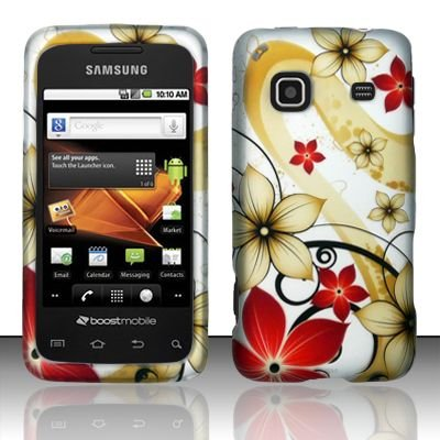Hard Rubber Feel Design Case for Samsung Galaxy Prevail - Red Flowers