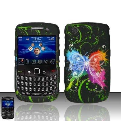 Hard Rubber Feel Design Case for Blackberry Curve 8520/9300 - Rainbow Butterfly