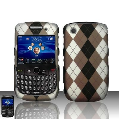 Hard Rubber Feel Design Case for Blackberry Curve 8520/9300 - Argyle