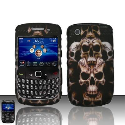 Hard Rubber Feel Design Case for Blackberry Curve 8520/9300 - Ancient Skulls