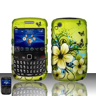 Hard Rubber Feel Design Case for Blackberry Curve 8520/9300 - Hawaiian Flowers