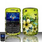 Hard Rubber Feel Design Case for Blackberry Curve 8520/9300 - Hawaiian Flowers
