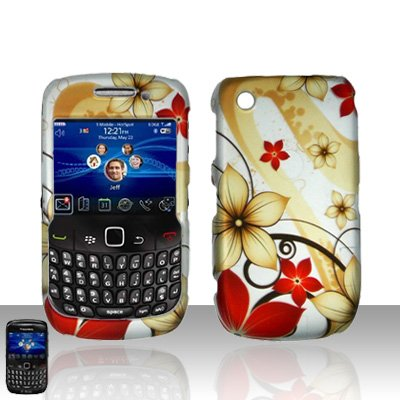 Hard Rubber Feel Design Case for Blackberry Curve 8520/9300 - Red Flowers