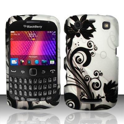 Hard Rubber Feel Design Case for Blackberry Curve 9360/9370 - Black Vines