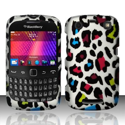 Hard Rubber Feel Design Case for Blackberry Curve 9360/9370 - Colorful Leopard