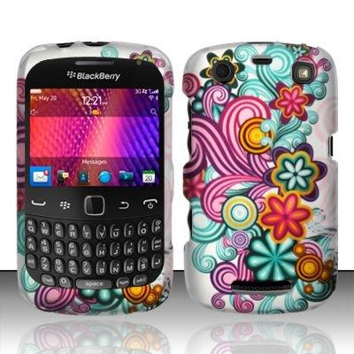 Hard Rubber Feel Design Case for Blackberry Curve 9360/9370 - Purple Blue Flowers