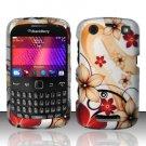 Hard Rubber Feel Design Case for Blackberry Curve 9360/9370 - Red Flowers