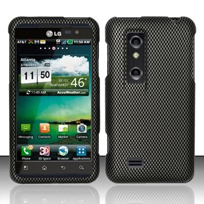 Hard Rubber Feel Design Case for LG Thrill 4G P925 (AT&T) - Carbon Fiber