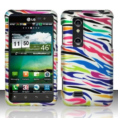 Hard Rubber Feel Design Case for LG Thrill 4G P925 (AT&T) - Colorful Zebra