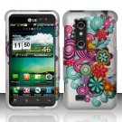 Hard Rubber Feel Design Case for LG Thrill 4G P925 (AT&T) - Purple Blue Flowers