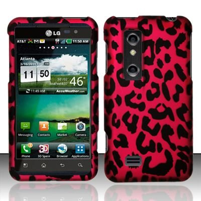 Hard Rubber Feel Design Case for LG Thrill 4G P925 (AT&T) - Pink Leopard
