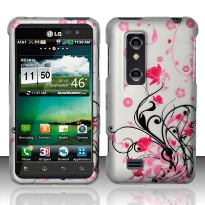 Hard Rubber Feel Design Case for LG Thrill 4G P925 (AT&T) - Pink Garden
