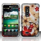 Hard Rubber Feel Design Case for LG Thrill 4G P925 (AT&T) - Red Flowers
