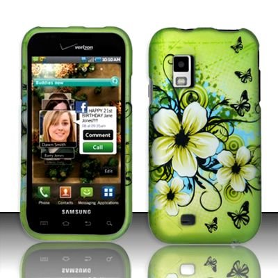 Hard Rubber Feel Design Case for Samsung Fascinate - Hawaiian Flowers