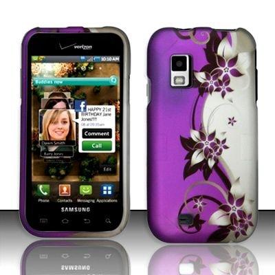 Hard Rubber Feel Design Case for Samsung Fascinate - Purple Vines