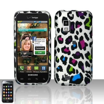 Hard Rubber Feel Design Case for Samsung Fascinate - Colorful Leopard