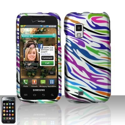 Hard Rubber Feel Design Case for Samsung Fascinate - Colorful Zebra