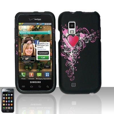 Hard Rubber Feel Design Case for Samsung Fascinate - Royal Heart