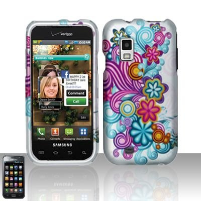 Hard Rubber Feel Design Case for Samsung Fascinate - Purple Blue Flowers