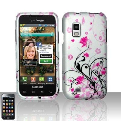 Hard Rubber Feel Design Case for Samsung Fascinate - Pink Garden